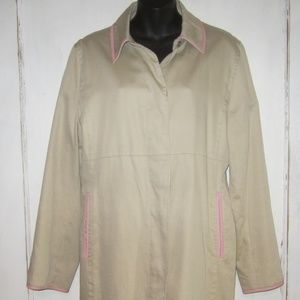 Coach Pink Leather Trim Trench Coat - Size 14